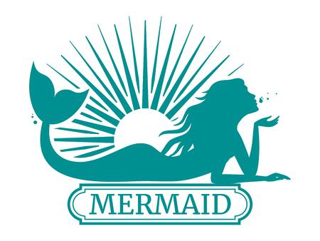 Illustration pour Mermaid silhouette and sun label design illustration. - image libre de droit