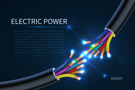Electric power cables, energy electrical wires abstract industrial vector background. Cable energy, wire connection electric, connect electrical line illustration