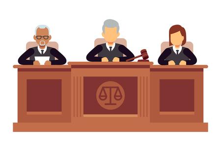 Illustration pour Federal supreme court with judges. Jurisprudence and law vector concept - image libre de droit