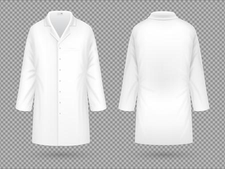Ilustración de Realistic white medical lab coat, hospital professional suit vector template isolated - Imagen libre de derechos
