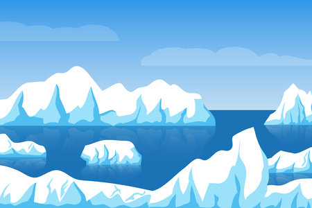 Cartoon winter polar arctic or antarctic ice landscape with iceberg in sea vector illustration