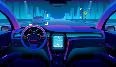 Ilustración de Future autonomous vehicle, driverless car interior with obstacles and night landscape outside. Futuristic car assistant vector concept - Imagen libre de derechos
