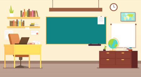 Illustration pour Nobody school classroom interior with teachers desk and blackboard vector illustration - image libre de droit