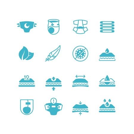 Illustration pour Baby diaper production characteristics icons. Soft, dry, stretch, breathable nappy with absorber vector symbols - image libre de droit