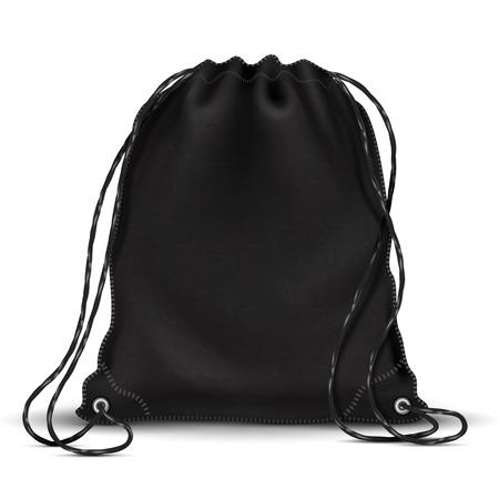 Ilustración de Sport backpack, backpacker bag with drawstrings. 3d black schoolbag. Isolated vector illustration - Imagen libre de derechos