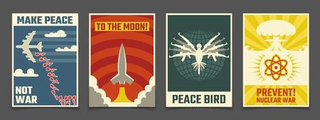 Ilustración de Soviet anti war, peaceful propaganda vector vintage posters - Imagen libre de derechos