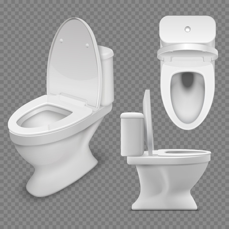 Illustration pour Toilet bowl. Realistic white home toilet in top and side view. Isolated vector illustration. Clean lavatory, ceramic closet for bathroom - image libre de droit