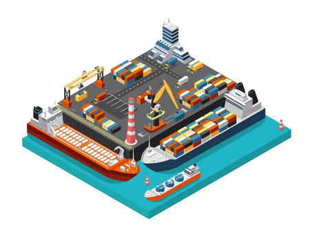 Ilustración de Isometric 3d seaport terminal with cargo ships, cranes and containers in harbor aerial view. Shipping industry vector concept. Transport terminal ship for unloading, export and storage illustration - Imagen libre de derechos