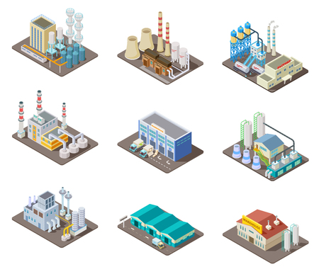 Ilustración de Isometric factory set. 3d industrial buildings, power plant and warehouse. Isolated vector collection. Industrial factory and warehouse, industry 3d manufacture production illustration - Imagen libre de derechos