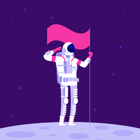 Astronaut on moon. Cosmonaut holging flag on lifeless planet in outer space. Astronautics vector background. Illustration of astronaut on new planet in galaxy