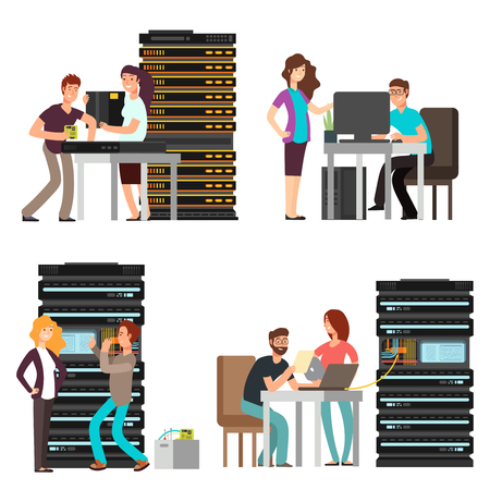 Illustration pour Man and woman engineers, technician working in server room. Digital computer center support. Vector illustration - image libre de droit