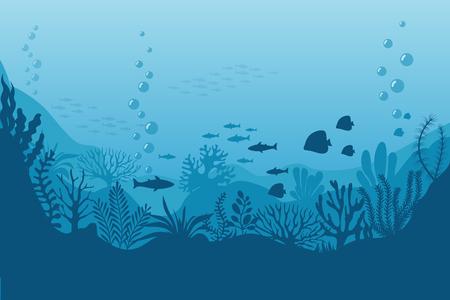Illustration pour Sea underwater background. Ocean bottom with seaweeds. Vector marine scene. Ocean scene, sea underwater, undersea life on bottom illustration - image libre de droit