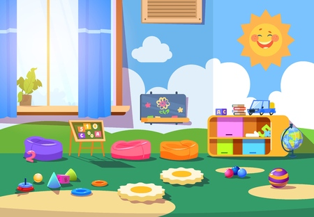 Illustration pour Kindergarten room. Empty playschool room with toys and furniture. Kids playroom cartoon vector interior - image libre de droit