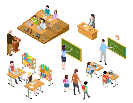 Photo pour Isometric school. Children and teacher in classroom and library. People in uniform and students. School education vector 3d concept. Library and classroom, education school class illustration - image libre de droit