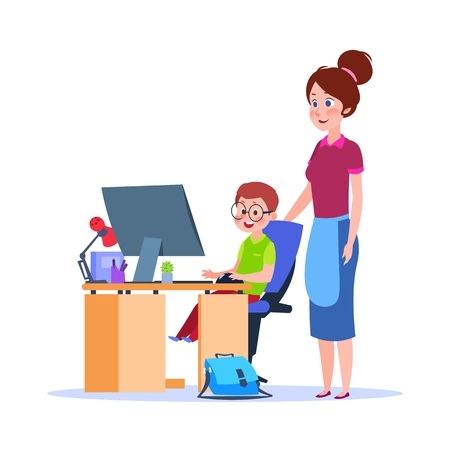 Illustration for Mother and child at computer. Mom helping boy with homework. Cartoon school education vector concept. Illustration of mother and child, education and studying homework - Royalty Free Image