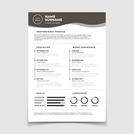 Cv resume. Document for employment interview. Vector business design template. Resume for interview in company corporate illustration