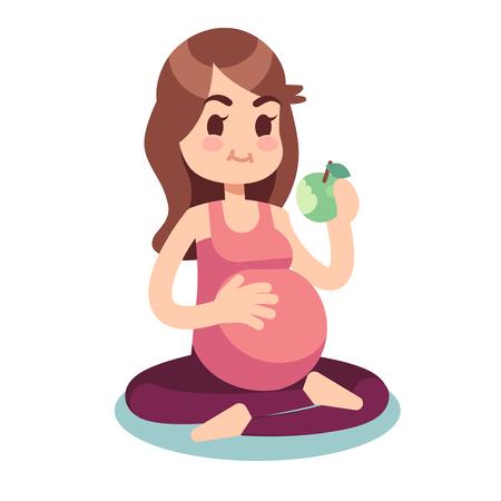 Illustration pour Pregnancy diet concept. Pregnant eating apple in lotus pose. Healthy food and fitness lifestyle vector illustration. Pregnant female, pregnancy woman diet - image libre de droit