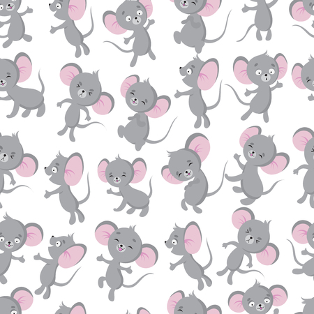 Ilustración de Cute baby mouse seamless pattern. Adorable toddler, newborn textile vector design. Illustration of little rat, fun cartoon animal - Imagen libre de derechos