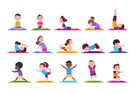 Yoga kids  Cartoon children doing yoga  Sporting girls and boys in