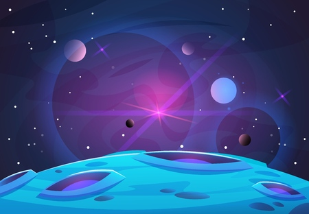 Illustration pour Space and planet background. Planets surface with craters, stars and comets in dark space. Vector illustration. Space sky with planet and satellite - image libre de droit