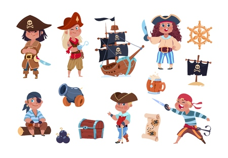 Ilustración de Cartoon pirates. Funny pirate captain and sailor characters, ship treasure map vector collection. Captain ship character, pirate children illustration - Imagen libre de derechos