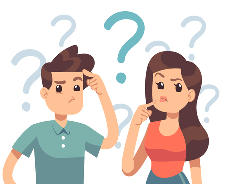Illustration pour Young troubled couple. Confused woman and man thinking together. People with question marks vector illustration. Man and woman with question, thinking guy - image libre de droit