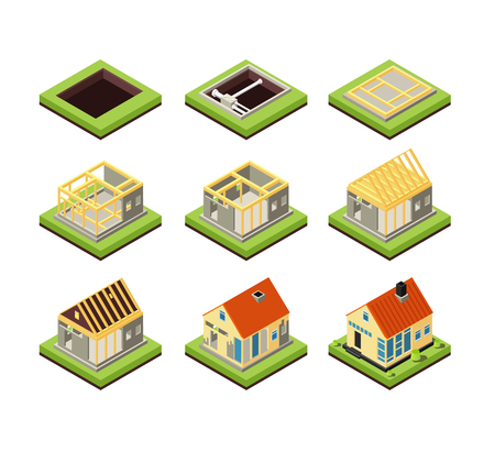 Illustration pour House construction. Building constructing phases. Rural home creation stage. Isometric vector icons project construction home, residential construct 3d illustration - image libre de droit