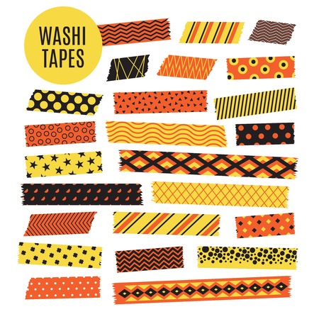 Illustration for Halloween tape strips. Orange and black halloween patterns. Vector scrapbook elements strip ripped, ribbon sticker paper illustration - Royalty Free Image