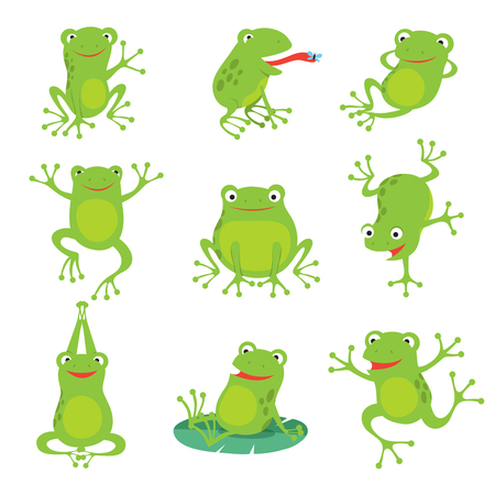 Ilustración de Cute cartoon frogs. Green croaking toad on lotus leaves in pond. Vector animal characters set of amphibian toad drawing, green frog collection illustration - Imagen libre de derechos