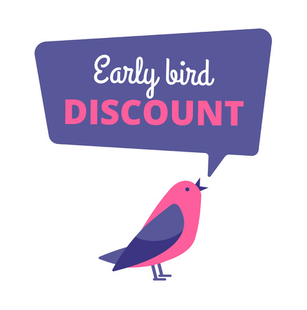 Illustration pour Early bird. Discount special offer, sale banner. Early birds vector concept. Promotion sale speech bubble notification illustration - image libre de droit