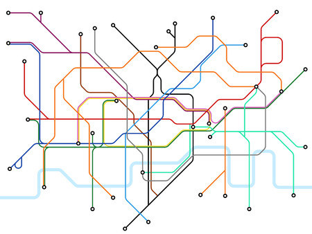 Illustration pour London underground map. Subway public transportation scheme. Uk train station vector plan. Illustration of scheme subway public transportation line - image libre de droit