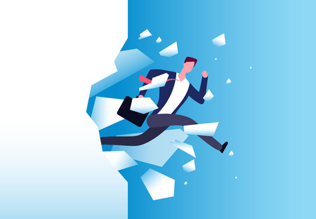 Breaking wall concept. Strong man jamps through barrier. Personal growth, business success and success motivation vector poster. Vector man jump through wall and breaking barrier illustration
