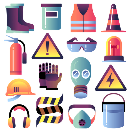 Illustration pour Safety equipment. Personal protection for construction works. Helmet, glove and glasses. Safety job vector icons. Illustration of helmet equipment, work protection and safety - image libre de droit