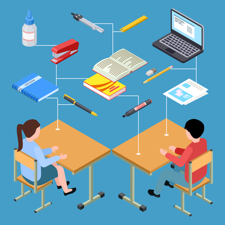 Workplace of modern students isometric vector design. Illustration of workplace student 3d, isometric education and studying