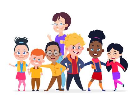 Illustration pour Happy international students group. Friendship vector concept. Student group teenager international and teacher woman illustration - image libre de droit