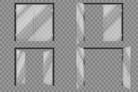 Illustration pour Glass doors. Open closed supermarket outside transparent door isolated vector 3d set. Illustration of glass door, entrance to boutique - image libre de droit