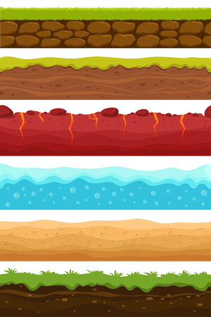 Illustration for Seamless grounds. Soils, water and land levels with grass, sandy desert. Cartoon vector endless textures set. Illustration of ground and soil horizontal, water and grass for game surface - Royalty Free Image