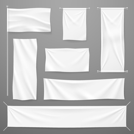 Illustration pour White textile advertising banners. Blank fabric cloths hanging on rope. Folded empty cotton stretched canvas. Vector mockup. Illustration of banner textile for advertising, realistic horizontal sheet - image libre de droit