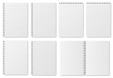 Illustration for Notebook paper sheets. Sketchbook blank pages with variety of lines and dots. Notepad vector isolated mockup. Illustration of notebook and notepad, note sheet document - Royalty Free Image
