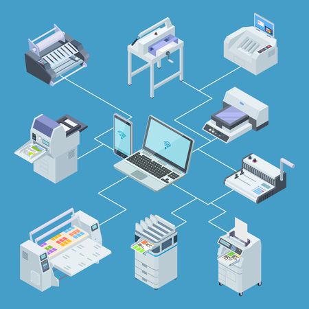 Illustration pour Modern printing house equipment. Printer plotter, offset cutting machines isometric vector concept. Illustration of control processing from laptop, scanning and plotter - image libre de droit