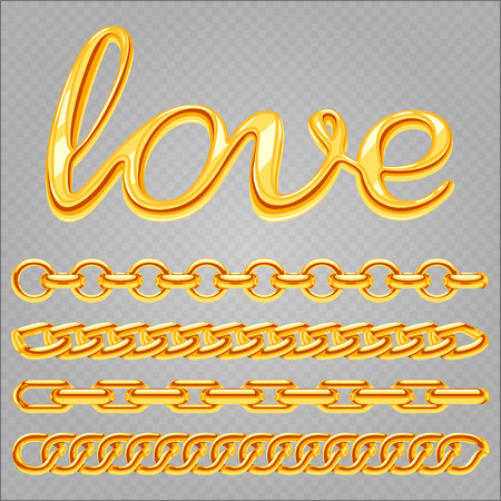 Realistic gold jewelry chain and love sign isolated on transparent background. Vector gold chain, golden metal luxury illustration