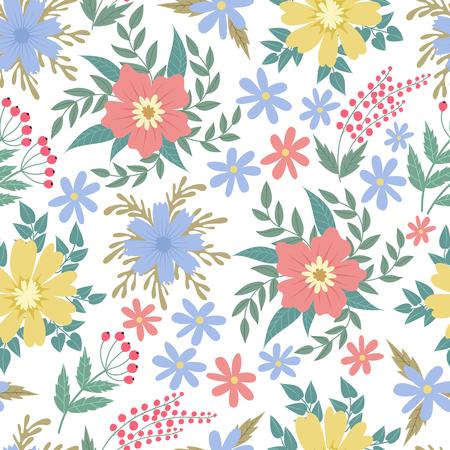 Illustration pour Spring flowers seamless patten. Garden summer flower motif floral texture vector backgrond. Background seamless color flower illustration - image libre de droit