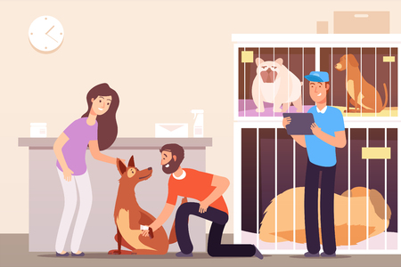 Illustration pour Homeless animals. People in shelter with pet cats and dogs in cages. Vector concept pet homeless, dog help and care illustration - image libre de droit