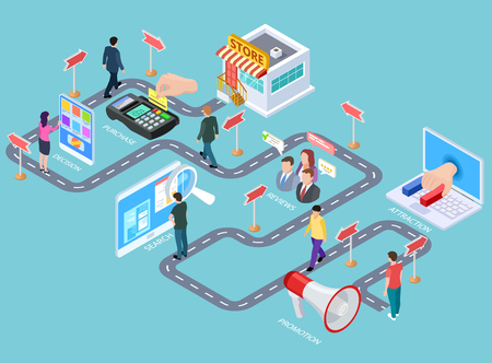 Illustration for Customer journey. Buying process isometric map, customers road from media to seller. Business purchasing strategy vector infographics. Process business strategy, buying customer illustration - Royalty Free Image