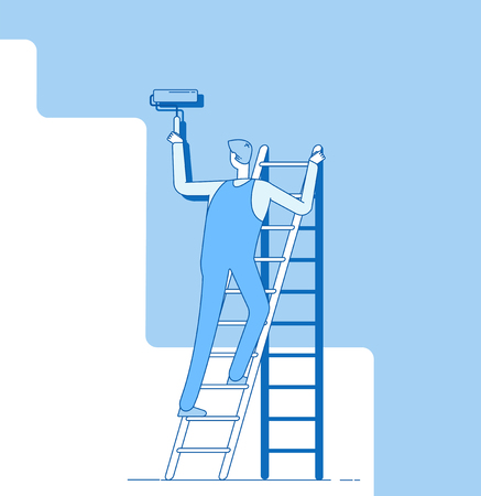 Illustration for Painter painting wall. Worker on ladder, craftsman paints home walls. House repair service decoration and renovation vector concept. Worker painting wall, housepainter with roller illustration - Royalty Free Image