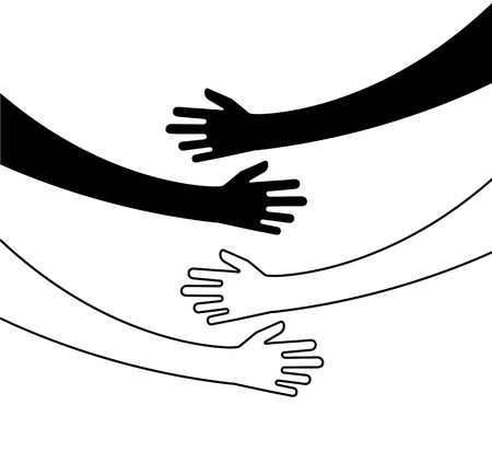 Illustration for Hugging hands. Arm embrace, belief togetherness unique relationship hugged hands vector isolated concept. Love and friendship, relationship embrace illustration - Royalty Free Image