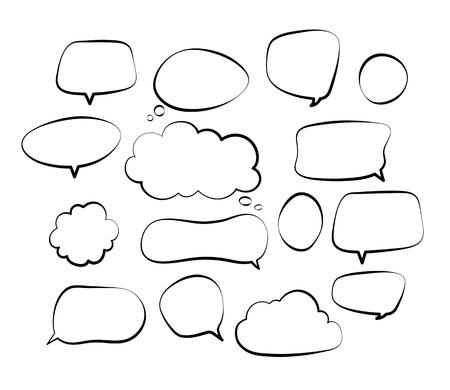 Illustration pour Outline speech bubbles. Doodle speech balloon sketch hand drawn scribble bubble talk cloud comic line retro shouting shapes vector set. Illustration of outline bubble speech for communication - image libre de droit
