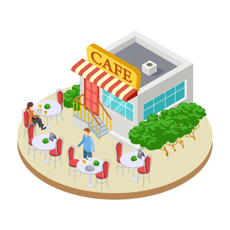 Illustration pour Cute summer street small cafe with outside tables isometric vector illustration. Cafe street, outdoor urban public restaurant - image libre de droit