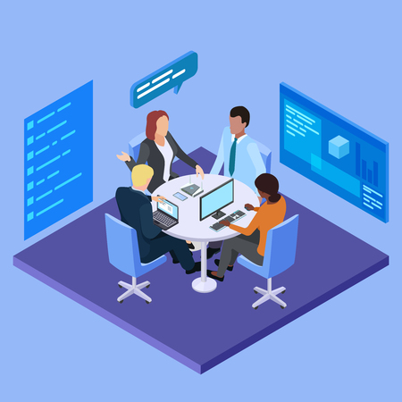 Illustration pour Business meeting in international company isometric vector illustration. Business company, people speaking in office room - image libre de droit