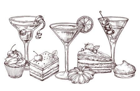 Illustration pour Hand drawn desserts and soft cocktails vector isolated on white background. Illustration of cocktail drink and cake desserts drawing - image libre de droit
